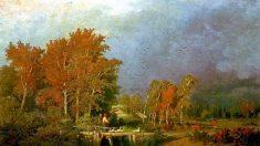 I colori d'autunno nel bel paesaggio realista