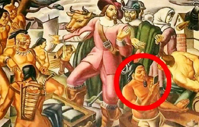 L'antica pittura che raffigura uno smartphone