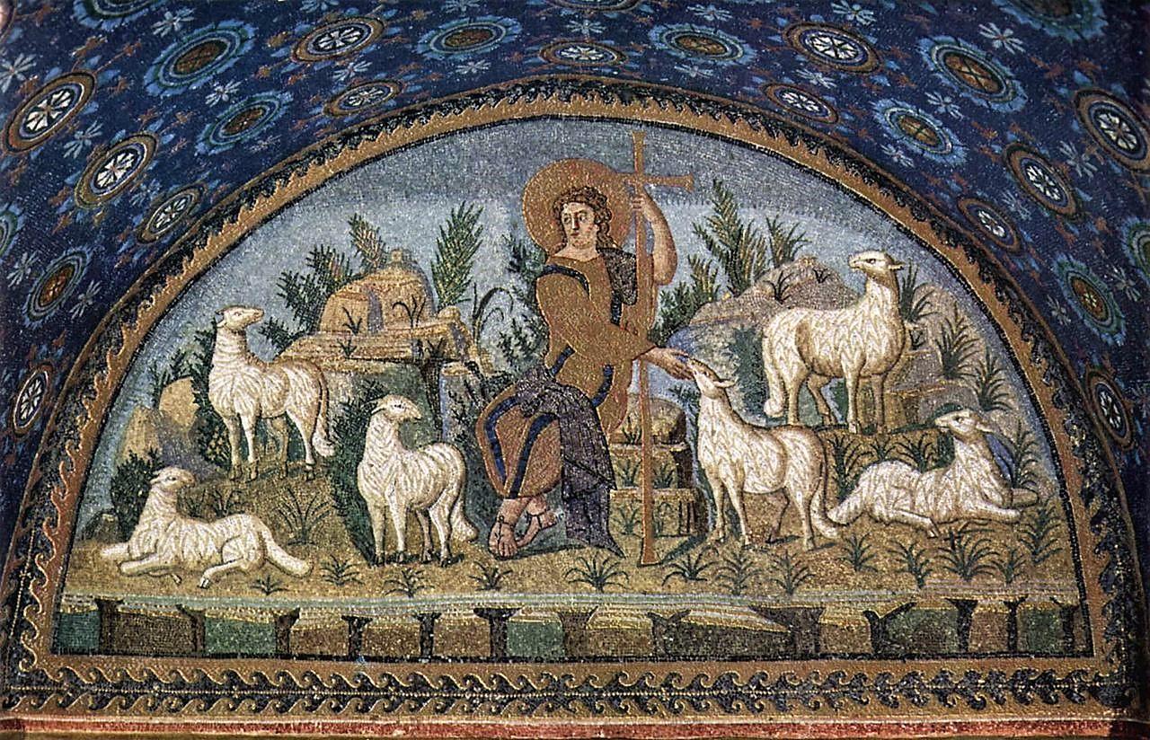 Dettaglio della lunetta del buon Pastore nel Mausoleo di Galla Placidia